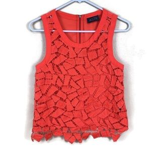 Astr Coral Lace Cut Out Sheer Tank | XS